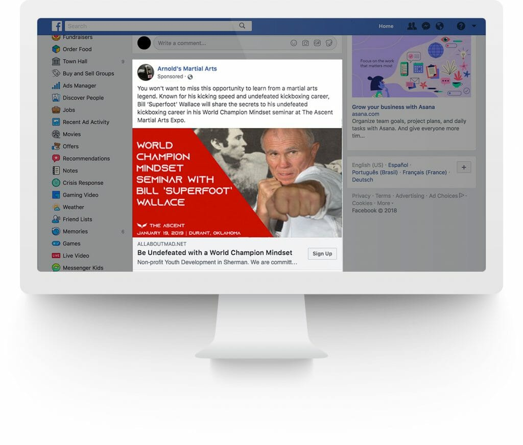 Facebook Ad for The Ascent