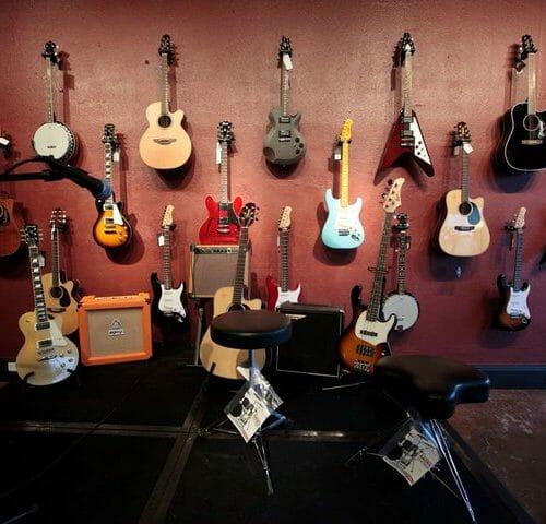 Guitar wall at DB Music store