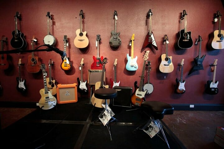 Guitar wall at DB Music store