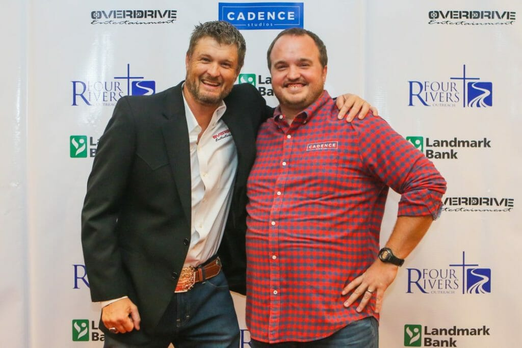 "Jason ""Fuzzy"" Smith with Overdrive Entertainment and David Tarvin with Cadence Studios at the Four Rivers Outreach Banquet"